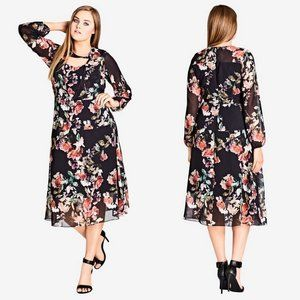 City Chic Black Floral Sheer Divine Midi Dress 22